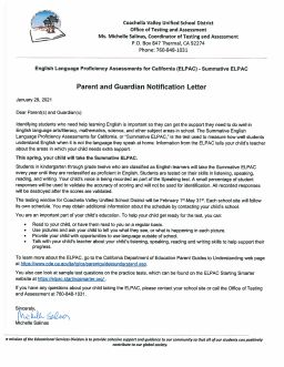 ELPAC Parent Notification & Presentation 2020-2021 video provides information